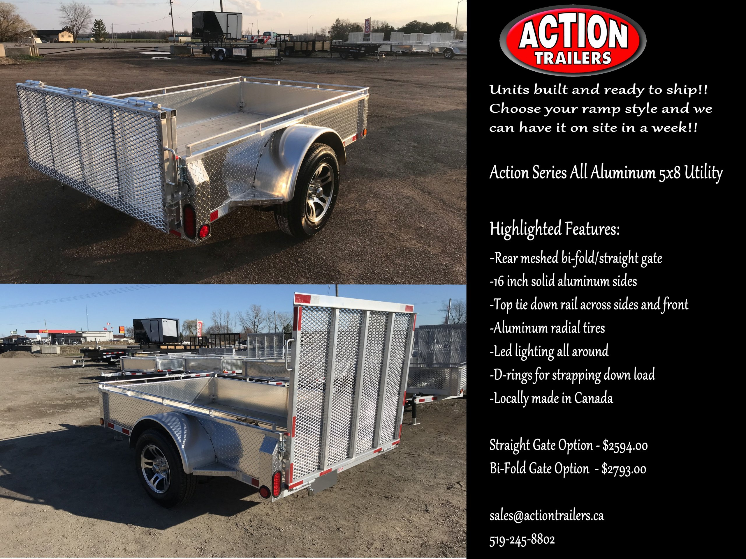 ****5X8 ALL ALUMINUM ACTION SERIES UTILITY TRAILERS ARE BUILT.....YOU PICK THE GATE YOU WANT.....WE GET IT HERE IN A WEEK!!**** PRICING STARTING AT $2594